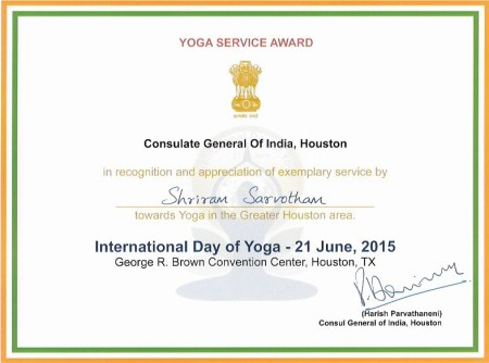Award of excellence, yoga day 2015